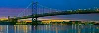Suspension bridge across a river, Ben Franklin Bridge, River Delaware, Philadelphia, Pennsylvania, USA Fine Art Print