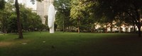 """Large head sculpture in a park, Madison Square Park, Madison Square, Manhattan, New York City, New York State, USA by Panoramic Images - 36"""" x 12"""""""