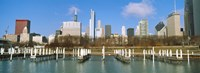 """Columbia Yacht Club with buildings in the background, Chicago, Cook County, Illinois, USA by Panoramic Images - 36"""" x 12"""""""