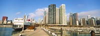 """Columbia Yacht Club with city skyline, Chicago, Cook County, Illinois, USA by Panoramic Images - 36"""" x 12"""""""