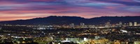 """High angle view of a city at dusk, Culver City, Santa Monica Mountains, West Los Angeles, Westwood, California, USA by Panoramic Images - 36"""" x 12"""""""
