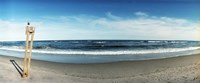 """Seagull standing on a wooden post at Fort Tilden Beach, Queens, New York City by Panoramic Images - 36"""" x 12"""""""