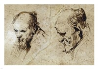Two Studies of the Head of an Old Man Fine Art Print