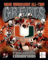 University of Miami Hurricanes All Time Greats Composite Fine Art Print