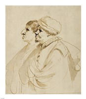 Caricature of Two Men Seen in Profile Fine Art Print
