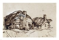 Two Thatched Cottages with Figures at a Window Fine Art Print
