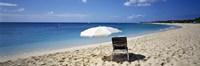 Single Beach Chair And Umbrella On Sand, Saint Martin, French West Indies Fine Art Print