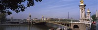 Bridge across a river with the Eiffel Tower in the background, Pont Alexandre III, Seine River, Paris, Ile-de-France, France Fine Art Print