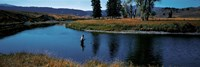 """Trout fisherman Slough Creek Yellowstone National Park WY by Panoramic Images - 27"""" x 9"""""""