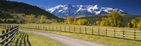 """Fence along a road, Sneffels Range, Colorado, USA by Panoramic Images - 27"""" x 9"""""""