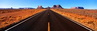 """Empty Road, Clouds, Blue Sky, Monument Valley, Utah, USA, by Panoramic Images - 27"""" x 9"""""""