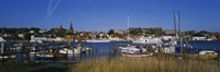 """Boats docked at the harbor, Flensburg Harbor, Munsterland, Germany by Panoramic Images - 27"""" x 9"""""""