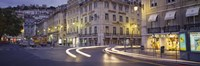 """Traffic on a road, Praca de Figueira, Lisbon, Portugal by Panoramic Images - 27"""" x 9"""""""