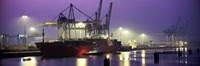 Port Night Illuminated Hamburg Germany