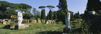 """Ruins of statues in a garden, Ostia Antica, Rome, Italy by Panoramic Images - 27"""" x 9"""""""