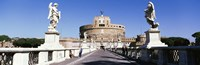 """Statues on both sides of a bridge, St. Angels Castle, Rome, Italy by Panoramic Images - 27"""" x 9"""""""