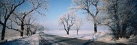 "Road passing through winter fields, Illinois, USA by Panoramic Images - 27"" x 9"", FulcrumGallery.com brand"