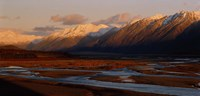 "River along mountains, Rakaia River, Canterbury Plains, South Island, New Zealand by Panoramic Images - 27"" x 9"""