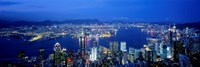 Hong Kong with Bright Blue Night Sky, China Fine Art Print