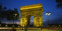 "Arc De Triomphe at night, Paris, France by Panoramic Images - 27"" x 14"""