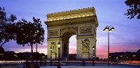 "Arc de Triomphe at dusk, Paris, France by Panoramic Images - 27"" x 9"""