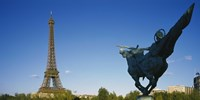 """Low angle view of a tower, Eiffel Tower, Paris, France by Panoramic Images - 27"""" x 9"""", FulcrumGallery.com brand"""