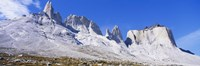 "Rock formations on a mountain range, Torres Del Paine National Park, Patagonia, Chile by Panoramic Images - 27"" x 9"""