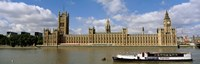 """Houses Of Parliament, Water And Boat, London, England, United Kingdom by Panoramic Images - 27"""" x 9"""", FulcrumGallery.com brand"""