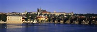 """Charles Bridge and Buildings along the River, Prague Czech Republic by Panoramic Images - 27"""" x 9"""""""