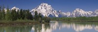 """Reflection of a mountain range in water, Oxbow Bend, Grand Teton National Park, Wyoming, USA by Panoramic Images - 27"""" x 9"""""""