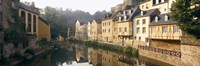 """Buildings along a river, Alzette River, Luxembourg City, Luxembourg by Panoramic Images - 27"""" x 9"""", FulcrumGallery.com brand"""