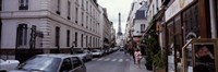 """Buildings along a street with the Eiffel Tower in the background, Paris, France by Panoramic Images - 27"""" x 9"""""""