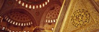 """Low angle view of ceiling of a mosque with ionic tiles, Blue Mosque, Istanbul, Turkey by Panoramic Images - 27"""" x 9"""""""