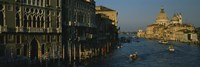 """High angle view of boats in a canal, Santa Maria Della Salute, Grand Canal, Venice, Italy by Panoramic Images - 27"""" x 9"""""""