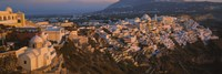High angle view of buildings in a town, Fira, Santorini, Cyclades Islands, Greece Fine Art Print