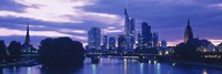 """Buildings lit up at night, Frankfurt, Germany by Panoramic Images - 27"""" x 9"""", FulcrumGallery.com brand"""