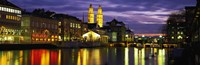 "Reflection of night lights in River Limmat Zurich Switzerland by Panoramic Images - 27"" x 9"""