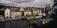 """High angle view of buildings along a river, River Limmat, Zurich, Switzerland by Panoramic Images - 27"""" x 9"""""""