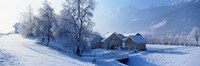 """Winter Farm Austria by Panoramic Images - 27"""" x 9"""""""