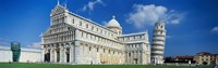 """Facade of a cathedral with a tower, Pisa Cathedral, Leaning Tower of Pisa, Pisa, Tuscany, Italy by Panoramic Images - 27"""" x 9"""""""