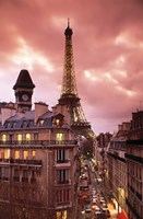 "Paris Street Scene with Eiffel Tower and Red Sky by Panoramic Images - 18"" x 27"""