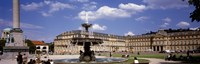 """Fountain in front of a palace, Schlossplatz, Stuttgart, Germany by Panoramic Images - 27"""" x 9"""", FulcrumGallery.com brand"""
