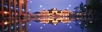 "Buildings in an amusement park lit up at dusk, Tivoli Gardens, Copenhagen, Denmark by Panoramic Images - 27"" x 9"""