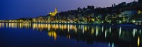 """Reflection of buildings in water, Menton, Alpes-Maritimes, Provence-Alpes-Cote d'Azur, France by Panoramic Images - 27"""" x 9"""""""