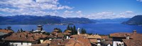 """High angle view of buildings near a lake, Lake Maggiore, Vedasco, Italy by Panoramic Images - 27"""" x 9"""""""