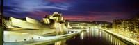 "Buildings lit up at dusk, Guggenheim Museum Bilbao, Bilbao, Vizcaya, Spain by Panoramic Images - 27"" x 9"""