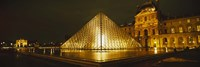 """Museum lit up at night, Musee Du Louvre, Paris, France by Panoramic Images - 27"""" x 9"""""""