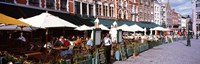 """Group of people in a restaurant, Bruges, Belgium by Panoramic Images - 27"""" x 9"""""""