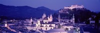 Austria, Salzburg, Panoramic view of the city in dusk Fine Art Print