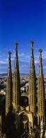 High Section View Of Towers Of A Basilica, Sagrada Familia, Barcelona, Catalonia, Spain Fine Art Print
